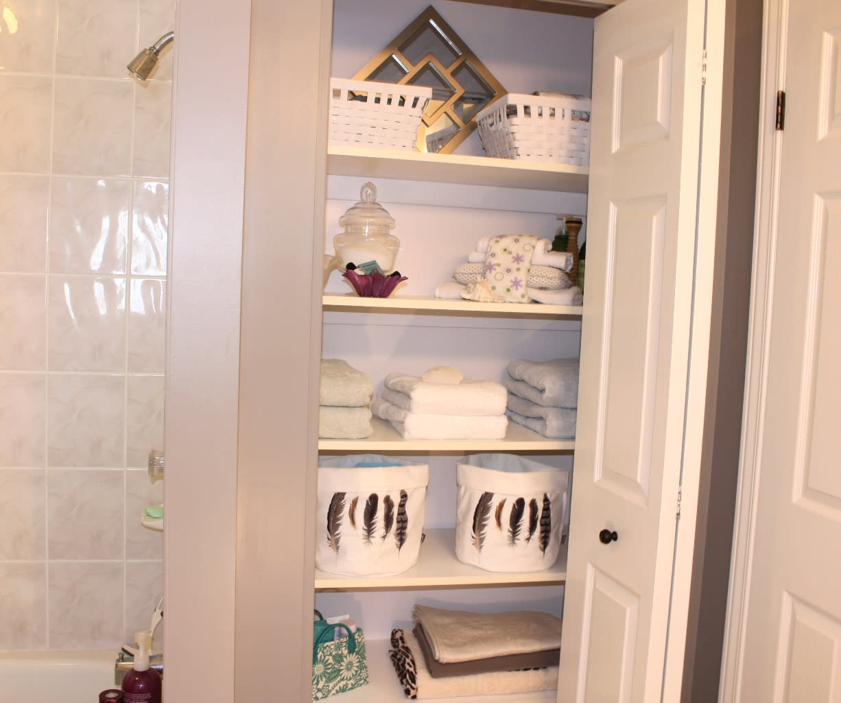 Spa feel Staged Linen Closet
