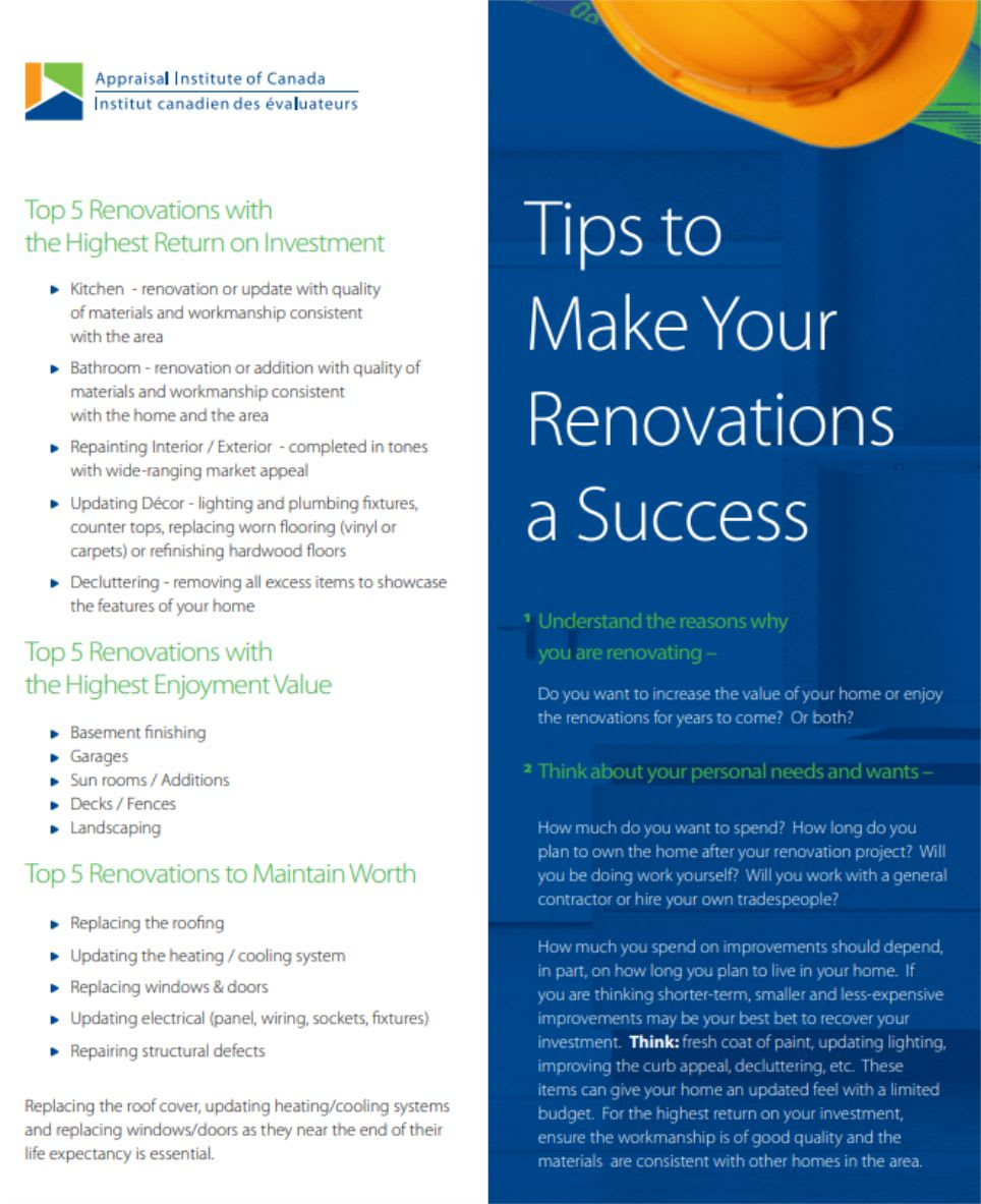 appraisal institute of canada tips for renovations