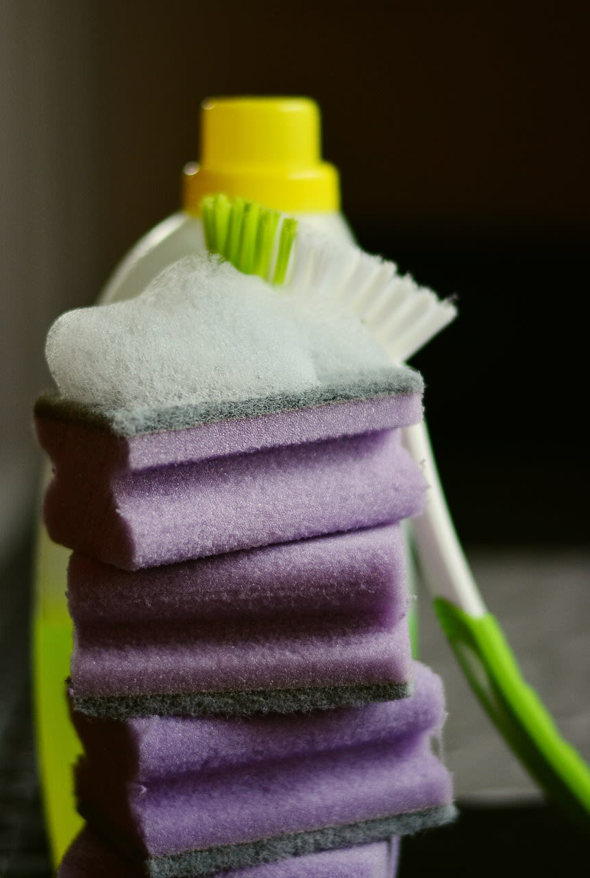 purple cleaning cloths - moving preparation