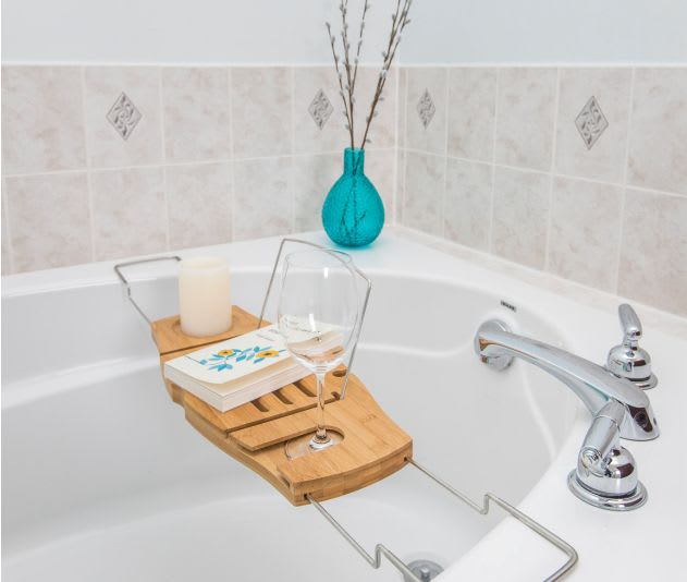 staged bathtub - ready for a relaxing soak